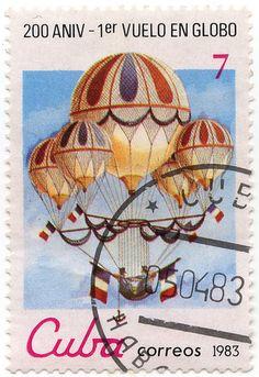 Old Cuba Stamps | 200 Aniv. - 1er Vuelo en Globo 002468