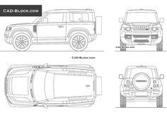 Land Rover Defender 90 CAD Block Defender 90, Land Rover Defender, Online Autocad, Windsor Knot, Cad Blocks, Cad Drawing, Tv Unit, Exterior Design, Landing