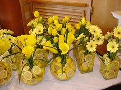 lemon in centerpieces, maybe with blue hydrangea for a contrast