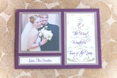 Elegant Script Photo Holiday Card in purple and silver from Swisstopher Robin.