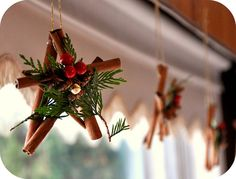 Stars made with cinnamon sticks.