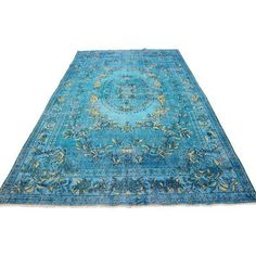 """Aqua Overdyed Turkish Oushak Rug - 10'4"""" X 6'1"""" ($2,100) ❤ liked on Polyvore featuring home, rugs, contemporary handmade rugs, aqua area rug, weave rug, woven rugs, hand woven area rugs and blue green rug"""