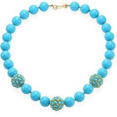 Kenneth Jay Lane Large Faux-Turquoise Beaded Necklace ($120) ❤ liked on Polyvore featuring jewelry, necklaces, artificial necklace, turquoise stone necklace, imitation jewelry, fake necklace and clasp necklace