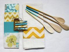 Handmade kitchen gift set: Mustard, Aqua, and Teal. Bright summer colors. Yellow chevron print.