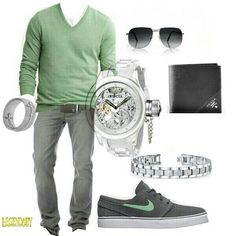 Men's gray green nice casual outfit