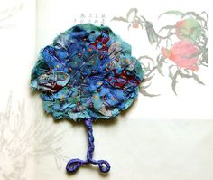 Textile tree wall ornament  Blue by BozenaWojtaszek on Etsy, $37.00