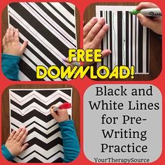 FREE DOWNLOAD from @youtherapysource.  Black and White Lines for Pre-Writing (or cutting) practice! Here is the link - - click on pin for more!    - Like our instagram posts?  Please follow us there at instagram.com/pediastaff
