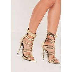 Missguided T Bar Strappy Gladiator Heels ($68) ❤ liked on Polyvore featuring shoes, sandals, gold, strap high heel sandals, high-heel gladiator sandals, multi-strap sandals, strappy sandals and strap sandals