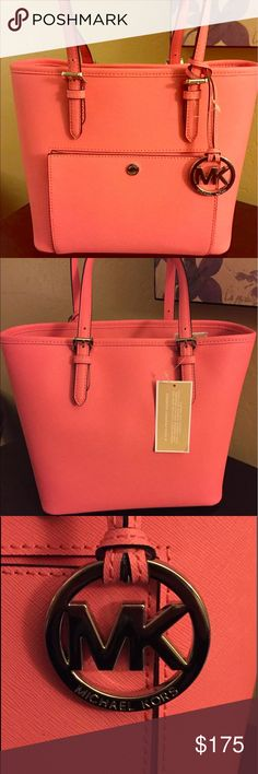 NWT Michael Kors bag New. Very beautiful coral/pink. Large/medium new leather bag.  Come with MK shopping bag as well. Michael Kors Bags Shoulder Bags