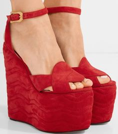 ae81bafd21ae Wedge heel measures approximately 6 inches with a 4 inches platform Red  suede Buckle-fastening ankle strap Made in Italy