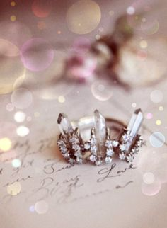 Cool and unusual ring with crystals and moonstones...