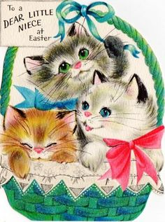 Hallmark Easter card kittens in basket