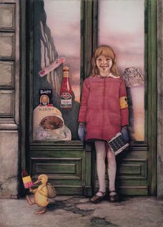 Artist:Gottfried Heilnwein    Sonntagskind (Sunday Child) 1972  102 cm x 73 cm  watercolor, colored pencil and pencil on cardboard  Private collection  Germany