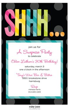 Surprise birthday party invitations for him cosas que comprar surprise birthday invitation wording google search stopboris Images