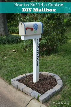 Double Mailbox Post Plans Wooden How To Build Paint And Install Custom Diy Mailbox After Thrift Diving Thrift Diving How To Build Paint And Install Custom Diy Mailbox Mailbox Makeover, Diy Mailbox, Mailbox Post, Mailbox Ideas, Mailbox Garden, Vintage Mailbox, Mailbox Landscaping, Landscaping Ideas, Mulch Landscaping