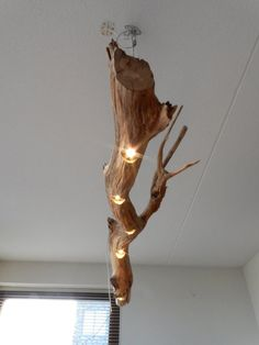 Ceiling lamp dimmable LED lights in old Oak. by GBHNatureArt Driftwood Lamp, Driftwood Chandelier, Wood Lamps, Lamp, Art Nouveau Lighting, Wooden Lamp, Led Lights, Ceiling Lamp, Lights