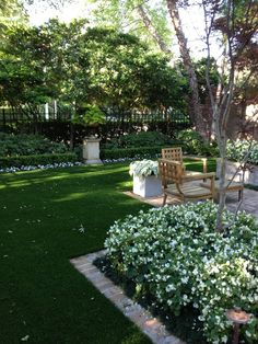 Elegant Small Garden with White Annuals and Pretty Brick Lined Lawn. This could work in Portland minus the calladium.