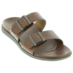 f5368d3cf2d Classic simplicity defines this men s slide sandal. Two rich brown leather  straps have buckles for