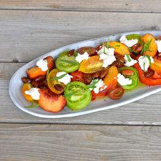 #recipe #tomatoes tomato and peach salad with ricotta and fried almonds