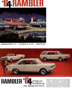 The 1964 Rambler line-up was very solid. We dig that 'vert in the background! www.zimmermotors.com