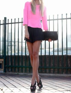 Pink and black short. Always