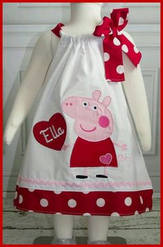New Super Cute Peppa Pig Personalized Valentine Dress Kids Dress Wear, Baby Dress, Little Girl Dresses, Girls Dresses, Baby Frocks Designs, Girl Dress Patterns, Applique Dress, Peppa Pig, Sewing For Kids