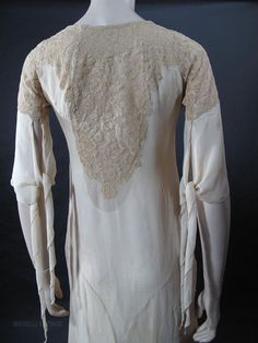 Gossamer 1920's Art Deco Silk Chiffon Crepe & Lace Dress With from marzillivintage on Ruby Lane