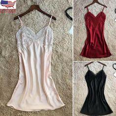 2eb887c1dd8 Womens Plus Size Eyelash Lace Lingerie Dress V-neck Lace Details Pajamas