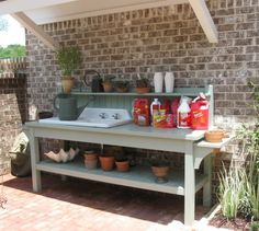 Best ideas for garden bench diy potting tables - Modern Potting Bench With Sink, Outdoor Potting Bench, Potting Bench Plans, Potting Tables, Rustic Potting Benches, Outdoor Benches, Potting Sheds, Garden Sink, Garden Table