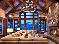 exposed beams, full rock fire place, giant wall of windows, great view-- yeah...