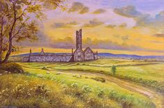Moyne Abbey Ruins Painting by Conor McGuire