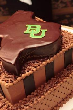 Groom's cake idea: Baylor BU on Texas-shaped chocolate ganache! Yum!