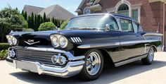 Find Classic Cars for Sale at Vanguard Motor Sales in Michigan - we ship worldwide! Chevrolet Impala, 1958 Chevy Impala, My Dream Car, Dream Cars, Best American Cars, Rear Speakers, Triple Black, Red Interiors, Vintage Cars
