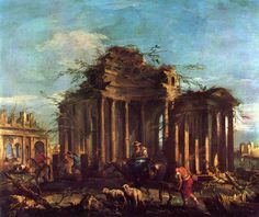 Caprice - Guardi, Francesco (Italian, 1712 - Fine Art Reproductions, Oil Painting Reproductions - Art for Sale at Bohemain Fine Art Architecture Drawings, Ancient Architecture, Francesco Guardi, Great Buildings And Structures, Oil Painting Reproductions, Old Master, Famous Artists, Anthropology, Landscape Paintings