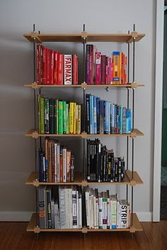 color coded bookshelf