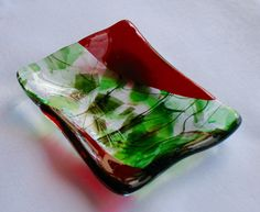 Fused Glass Art Trinket Tray: Ruby Red and Special Red-Green Confetti Glass - pinned by pin4etsy.com