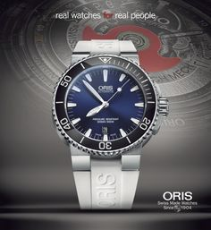 Deep Blue The Oris Aquis with a twist, in white rubber strap. Ref: #Oris #Aquis Date, 733 7653 4135