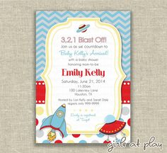 Baby Boy Shower Invitation Invite Rocket Spaceship Blue Gray Red Chevron Space - print by you - by girls at play Etsy girlsatplay
