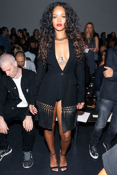 Rihanna showed off her stems at the Altuzarra show on Saturday. #celeb #style #nyfw