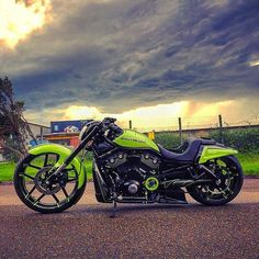 @DBM081's show-stopping, mean machine in green #NightRod weathers the incoming storm. Post up your Night Rod with the #NightRod hashtag and tag @harleydavidson. Whose bike can get the most likes? #RollYourOwn