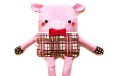 Pig Sewing Pattern Doll Softie PDF Sewing Pattern - Pig With Bow Tie