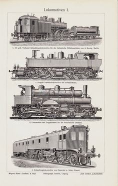 1908 Antique Train print old locomotive