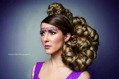 hair show updo model, done with foam pieces and hair extensions