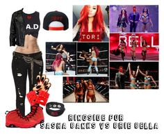 """""""Ringside For Sasha Banks Vs. Brie Bella"""" by black-onyxx ❤ liked on Polyvore featuring Levi's, Retrò, VIPARO, OBEY Clothing, Religion Clothing and Club Exx"""