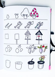 Spring Bullet Journal Doodles To Easily Copy In Your Bujo! Bullet Journal Paper, Bullet Journal Lettering Ideas, Bullet Journal Notebook, Bullet Journal Layout, Bullet Journal Ideas Pages, Bullet Journal Inspiration, Easy Doodles Drawings, Simple Doodles, Cute Drawings