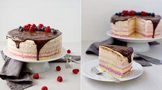 Tento dort je naprosto ideální pro dětské narozeninové oslavy. Je krásně barevný, krém je díky malinám nakyslý a osvěžující. Pokud nemáte rádi maliny, určitě můžete vyzkoušet i variantu s borůvkami (těch by mělo stačit méně), jahodami nebo jinou směsí ovoce.