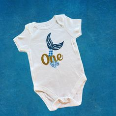 Let's celebrate 1st birthday with this cute mermaid onesie. Cute Mermaid, Baby Grows, Personalized Baby, Baby Bodysuit, Customized Gifts, Baby Shower Gifts, Your Design, Onesies, Etsy Handmade
