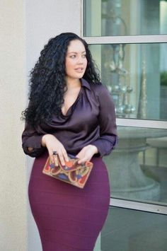Dark Purple Satin Blouse with Burgundy Bodycon Skirt and Colorful Clutch