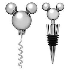 Mickey Mouse Icon Corkscrew and Bottle Stopper Set -- 2-Pc. | Disney Store Our fa-mouse Mickey icon goes uptown as the sculpted topper for a modern metal corkscrew and bottle stopper. Disney's gleaming gift set of elegant serving accessories puts the fizz of fantasy in any beverage.