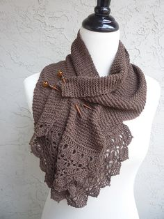 Scarf using Diamond Fibers Cashmere Lace knit